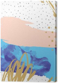 Tableau sur Toile Résumé impression avec géométriques colorés éléments / points sur fond gribouillis. peinture créative imprimé graphique Pastel pour la carte, affiche, bannière, flyer