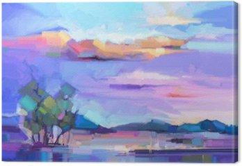 Tableau sur Toile Résumé peinture à l'huile fond de paysage. ciel jaune et violet coloré. peinture à l'huile de paysage en plein air sur la toile. arbre semi abstrait, colline et champ, pré. Coucher de soleil nature paysage fond