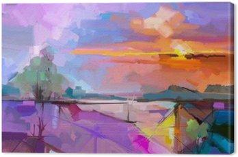 Tableau sur Toile Résumé peinture à l'huile fond de paysage. Oeuvre peinture à l'huile moderne de paysage extérieur. abstrait Semi- arbre, colline avec la lumière du soleil (coucher du soleil), jaune coloré - ciel pourpre. Beauté nature fond