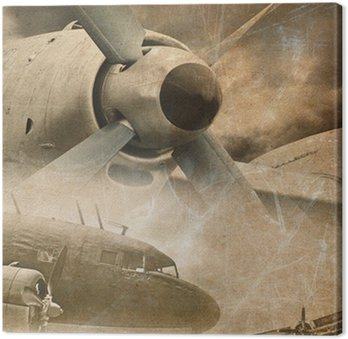 Tableau sur Toile Retro aviation, fond de cru