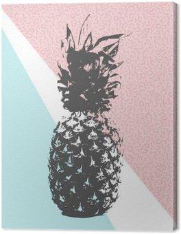 Tableau sur Toile Rétro conception d'ananas d'été avec 80s formes