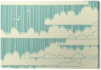 Tableau sur Toile Retro grungy fond de nuages