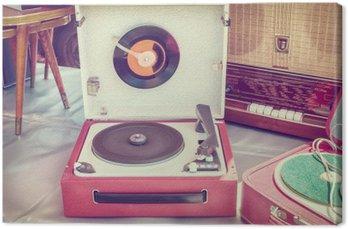 Tableau sur Toile Rétro image de style d'un vieux tourne-disque