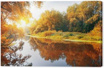 Tableau sur Toile Rivière dans une forêt d'automne délicieux