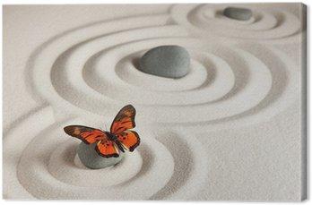 Tableau sur Toile Roches zen avec papillon