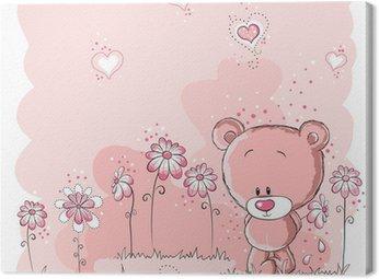 Tableau sur Toile Rose mignon d'ours tenant une fleur