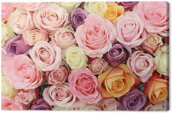 Tableau sur Toile Roses de mariage pastel