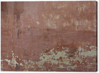 Tableau sur Toile Rouge rugueux mur de ciment vieux fond texturé avec des taches, sec