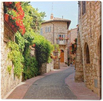 Tableau sur Toile Rue bordée de fleurs dans la ville d'Assise, Italie