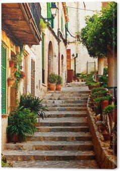 Tableau sur Toile Rue dans le village de Valldemossa à Majorque