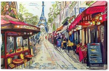 Tableau sur Toile Rue de Paris - illustration
