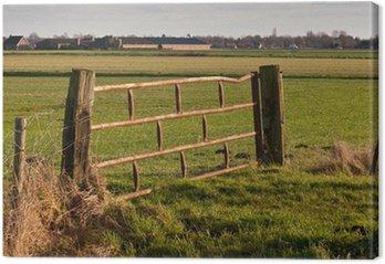 Tableau sur Toile Rusty vieille clôture entre poutres en bois