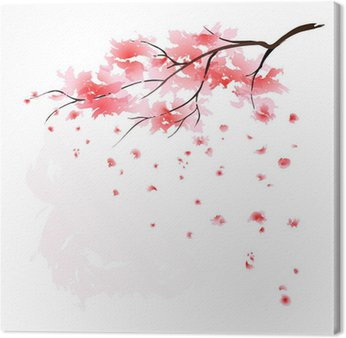Tableau sur Toile Sakura aquarelle
