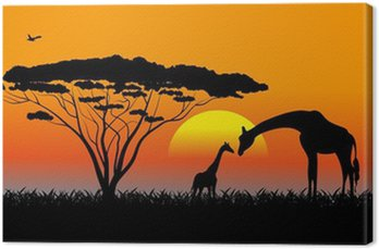 Tableau sur Toile Savane africaine un paysage de soirée