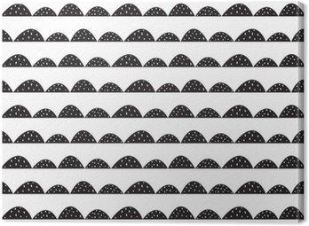 Tableau sur Toile Scandinavian seamless noir et blanc dans un style dessiné à la main. rangées de collines stylisées. Vague modèle simple pour le tissu, le textile et le linge de bébé.