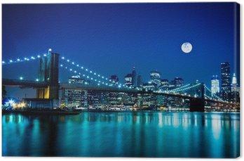 Tableau sur Toile Scène de nuit de Brooklyn Bridge et New York City
