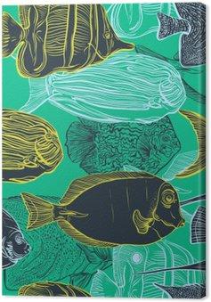 Tableau sur Toile Seamless avec collection de tropical ensemble de la main illustration tirée de fauna.Vector marine en ligne art style.Design pour la plage d'été, des décorations fish.Vintage.