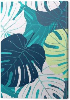 Tableau sur Toile Seamless avec des feuilles de palmier