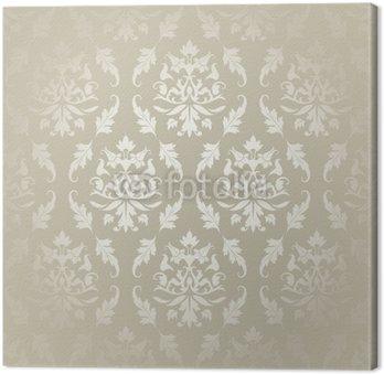 Tableau sur Toile Seamless Damask Pattern Fleurs & Argent Leafs / Or