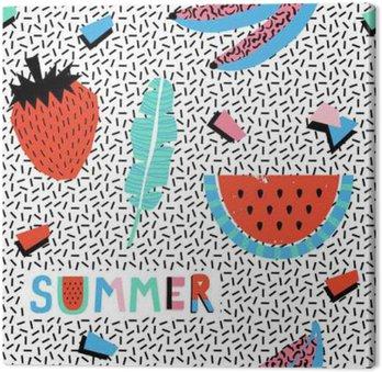 Tableau sur Toile Seamless été avec des bananes et la pastèque dans le style pop art.