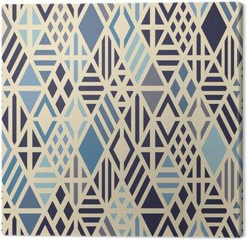 Tableau sur Toile Seamless géométrique avec des losanges de couleur bleue.