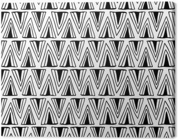 Tableau sur Toile Seamless noir et blanc avec des triangles.