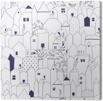 Tableau sur Toile Seamless pattern. Figure villes de style vintage.