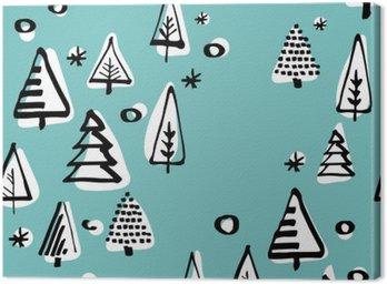 Tableau sur Toile Seamless scandinave de Noël vecteur arbre main dessin graphique.