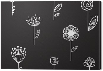 Tableau sur Toile Seamless texture avec des fleurs décoratives, fond noir, illustration vectorielle