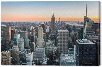Tableau sur Toile Skyline de New York au coucher du soleil