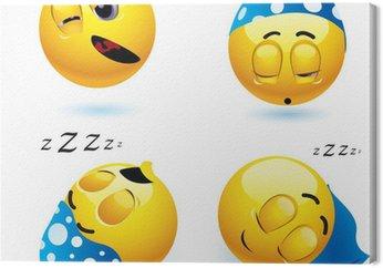 Tableau sur Toile Sleeping smiley boules dans une position différente