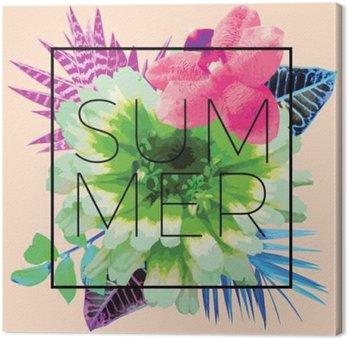 Tableau sur Toile Slogan d'été. Trendy imprimé floral