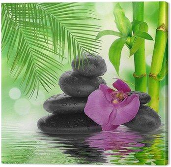 Tableau sur Toile Spa de fond - pierres noires et bambou sur l'eau