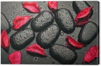 Tableau sur Toile Spa de fond. pierres noires et des pétales rouges avec des gouttelettes d'eau