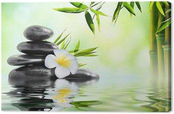 Tableau sur Toile Spa massage dans le jardin de frangipaniers et de bambou