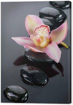 Tableau sur Toile Spa pierres et de fleur d'orchidée sur fond foncé