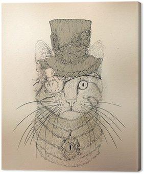 Tableau sur Toile Steampunk Cat Vintage Style