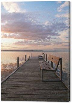 Tableau sur Toile Steg am Steinhuder Meer, Abendruhe, romantisch, Landschaft