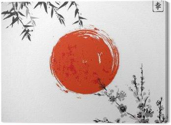 Tableau sur Toile Sun, le bambou et sakura en fleur. Japonaise peinture à l'encre sumi-e traditionnel. Contient hiéroglyphe - Double chance.
