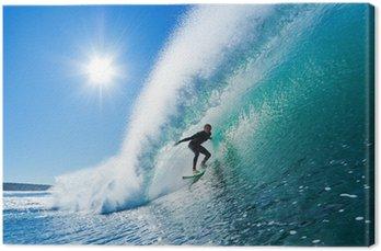 Tableau sur Toile Surfer sur le bleu Ocean Wave