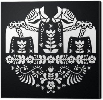 Tableau sur Toile Swedish Dala ou un motif folklorique Daleclarian cheval floral sur le noir