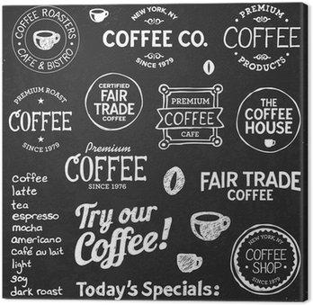 Tableau sur Toile Tableau texte Café et symboles
