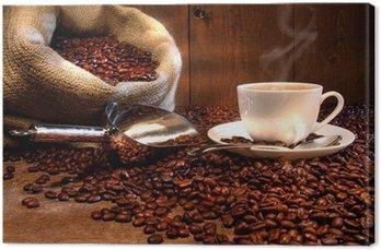 Tableau sur Toile Tasse à café avec sac de jute de grains torréfiés