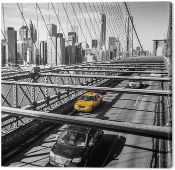 Tableau sur Toile Taxi traversant le pont de Brooklyn à New York