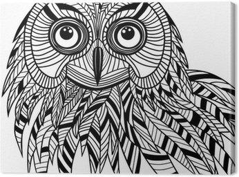 Tableau sur Toile Tête d'oiseau hibou comme symbole d'Halloween pour mascotte ou de la conception de l'emblème, s