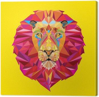 Tableau sur Toile Tête de lion en motif géométrique