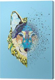 Tableau sur Toile Tête Wolf en motif géométrique avec le vecteur de ligne étoile