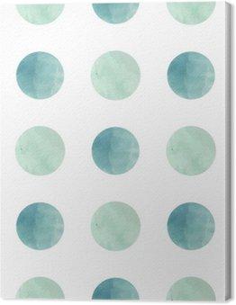 Tableau sur Toile Texture d'aquarelle. Seamless. cercles d'aquarelle dans des couleurs pastel sur fond blanc. Les couleurs pastel et design délicat romantique. Motif de point de polka. Couleurs fraîches et de menthe.