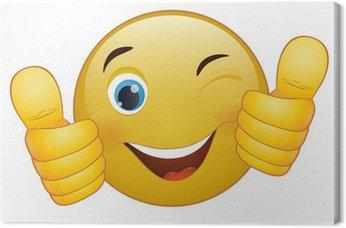 Tableau sur Toile Thumb up émoticône, signe jaune de bande dessinée expression faciale