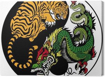 Tableau sur Toile Tigre et Dragon Yin-Yang